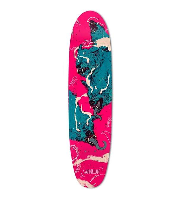wolf longboard deck art